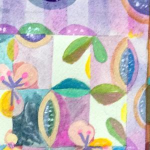 装飾的、壁紙的な絵画をアケビで