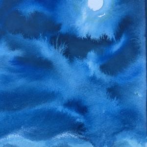 十三夜で見た雲海を描く