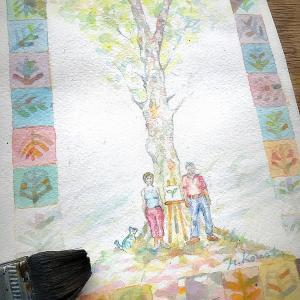 【いのちの樹】に保護膜塗布