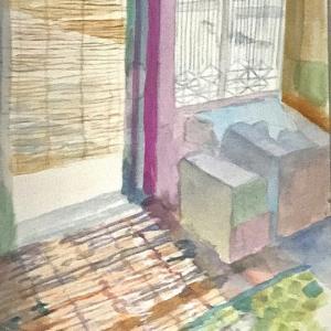 『家猫の光と影(和室)』いちまいの絵9月