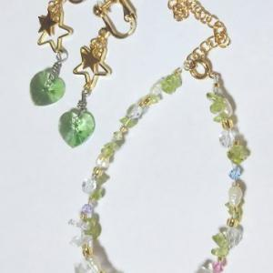 星 夏 黄緑のブレスレットとイヤリング