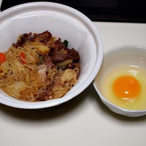 令和01年11月27日(水) 夜:すき家・牛すき皿 ポテトサラダ から揚げ