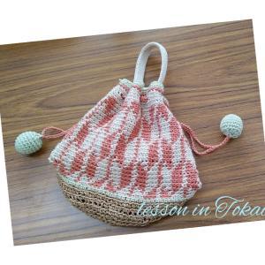 編み込み模様の巾着袋~生徒さんの作品