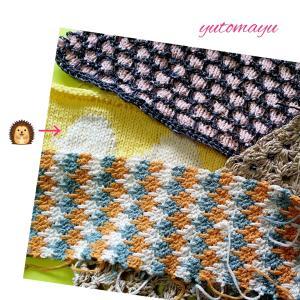 ハリネズミのバッグを編み編み中
