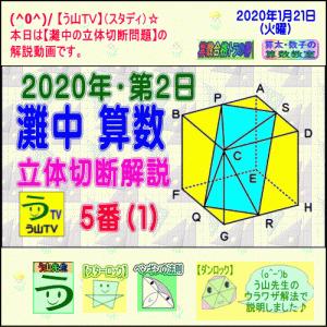 【解説動画】2020年・灘中・第2日・算数・5番(1)[立体切断]