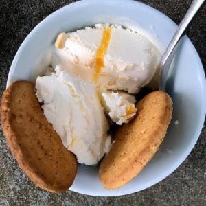 ロックダウンの自宅の庭で夏の観光地の賑わいを思う、限定風味のアイスクリームと日英デザート考