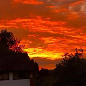 ぐうぜん目撃、日が沈む直前の日没に燃える1日の終わりの夏の雲、この世の終わりかとも思える美しさ