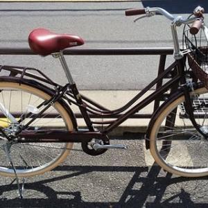 ★新車・お買い得・おしゃれ自転車・26・ヒルモLEDオートライト・シングルギヤ・ブラウン