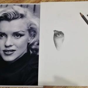 鉛筆画『マリリンモンロー』その1
