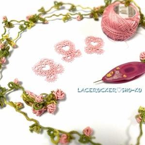 10月はタティングレースでピンクリボンを作って〜(^o^) Make pink ribbon ♡