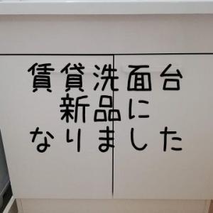 古い賃貸の洗面台。新品に交換してもらいました!