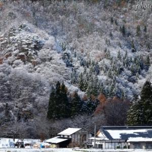 みちのく初雪の里山