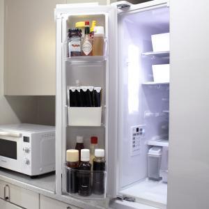 新しい冷蔵庫の中身と収納(左扉のドアポケット)詰め替えないものを乱雑に見せないアイデア