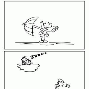 4コマ漫画「雨の鬼」リメイク版