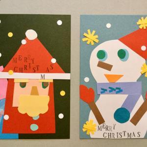 クリスマスのカード作り♡ サンタさんと雪だるま