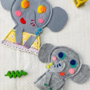 お友達の誕生日プレゼントに〜  ゾウの親子 指人形!