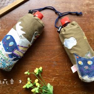 またまた 2種類のペットボトルカバーが 完成です!トビウオ&ペンギンと ねこ&ツバメ アップリケ