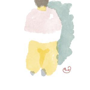 桃色のショールのベージュのガウチョパンツのおねえさん
