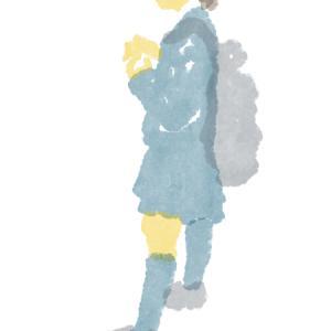 黒いリュックの制服のポニーテールの女子高生