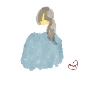 白いエリ巻きの紺のコートのポニーテールのおねえさん