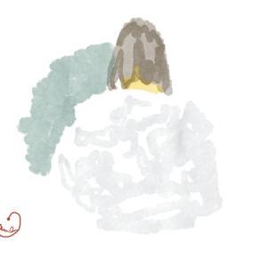 白いフーデッドコートのおねえさん