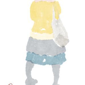 桃色のエリ巻きの紺のスカートのポニーテールのおねえさん