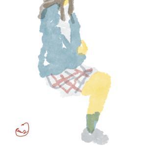 チェックのスカートの制服の女子高生