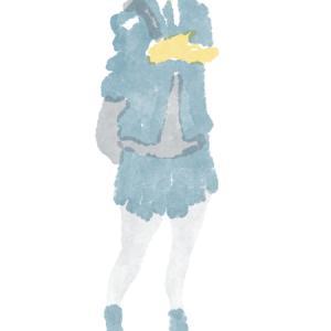 ライトグレーのストッキングの制服のポニーテールの女子高生