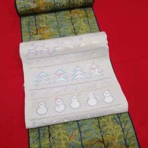 十日町紬と西陣まいづる九寸帯 クリスマステーマ