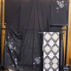 絽付下げと織文意匠鈴木水衣帯