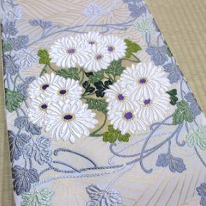 織紋意匠鈴木 貝紫染唐織袋帯
