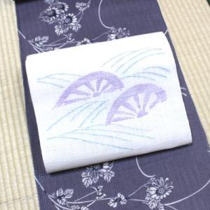 絹紅梅と麻八寸帯