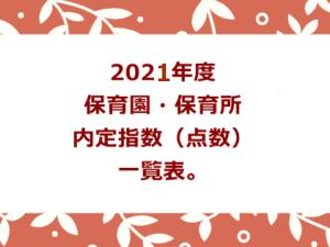 2021年度。保育園・保育所内定指数(点数)一覧表。