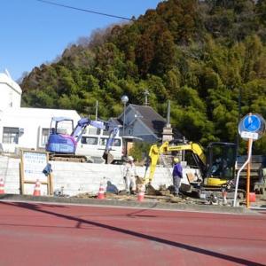 鹿島公民館脇の道路工事