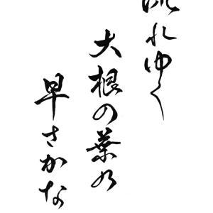 今日の漢字リクエスト2021-19「流れゆく 大根の葉の 早さかな」を 行書で書く