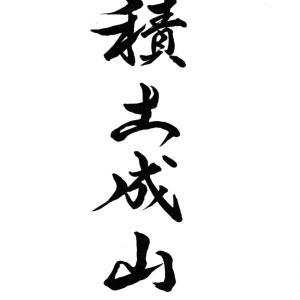 今日の漢字リクエスト2021-23「積土成山」を 2書体で書く