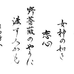 今日の漢字リクエスト2021-24「透き通る 女神の如き 恋心 ・・」を 2書体で書く