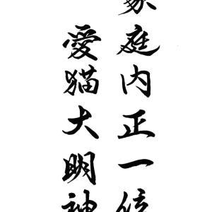 今日の漢字リクエスト2021-27「家庭内正一位 愛猫大明神」を 2書体で書く