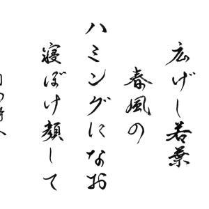 今日の漢字リクエスト2021-28「げんこつを 広げし若葉 春風の・・・」を行書で書く