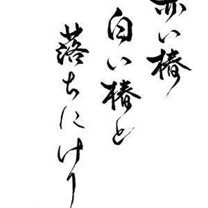 今日の漢字リクエスト2021-29「赤い椿 白い椿と 落ちにけり」を 行書で書く