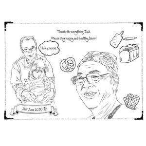 モノトーンも作ってみました。#父の日#似顔絵#アマビエ#著作権フリー