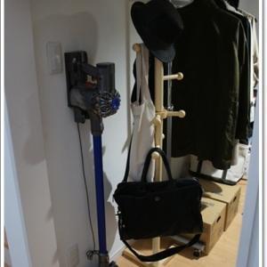 柱をたててDIY!コートとバック置き場を改善。
