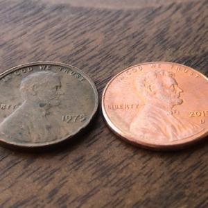 1セント硬貨 × 銅合金? 亜鉛合金?