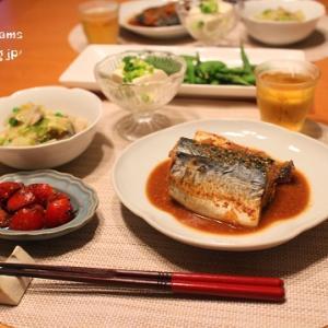 ストウブで『鯖の味噌煮』の献立。