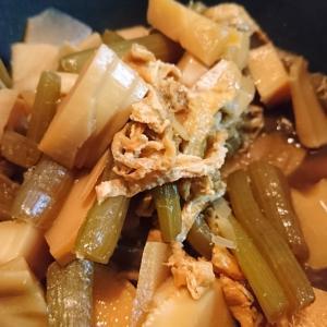 【へそ料理】タケノコとフキの煮物