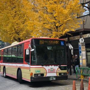 【バススケッチ】イチョウの木と京王バス復刻塗装車