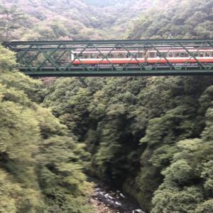 【鉄道スケッチ】出山の鉄橋を渡る箱根登山鉄道「ベルニナ」号