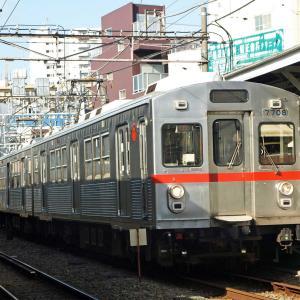 【鉄道スケッチ】戸越銀座駅での東急7700系電車