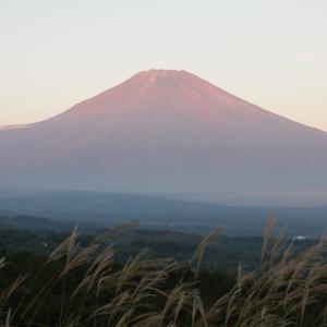 初冠雪の富士山と赤富士