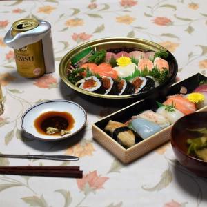 今日は「父の日」、爺の日?で老夫婦は,お寿司で細やかな祝宴?